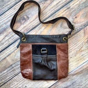 New! The Sak Crossbody Leather Black Brown Handbag